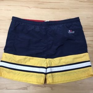 Chaps Ralph Lauren Navy Yellow Stripe Swim Trunks
